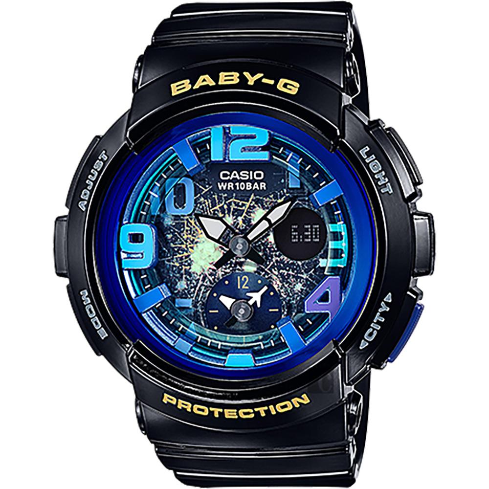 CASIO卡西歐 Baby-G 旅行系列夜空手錶-藍x黑