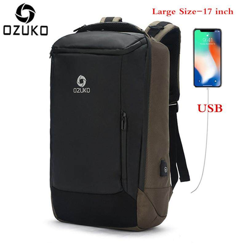 LOSELF - OZUKO USB Rain-proof 17-Inch Laptop Backpack Large Capacity Business Backpack Multifunction Casual Travel Backpack Fashion School Bag