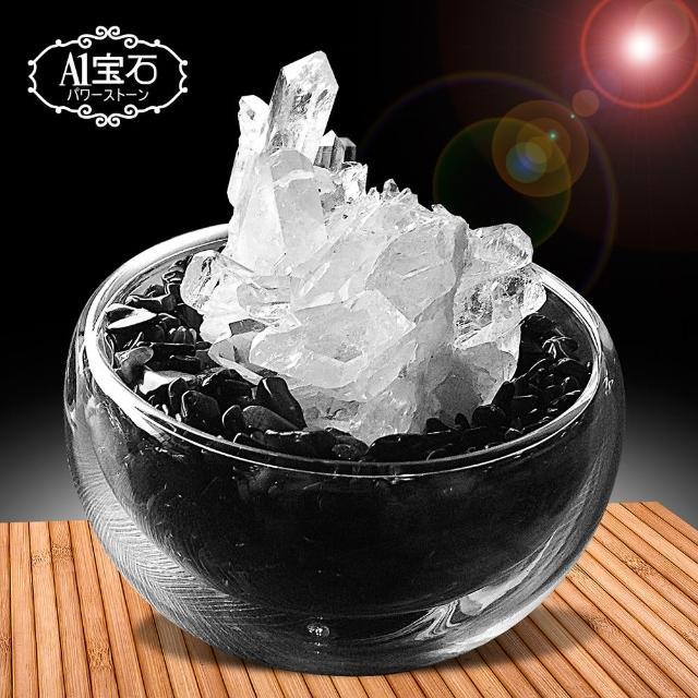 【A1寶石】招財轉運白水晶簇-黑曜石聚寶盆(含開光)