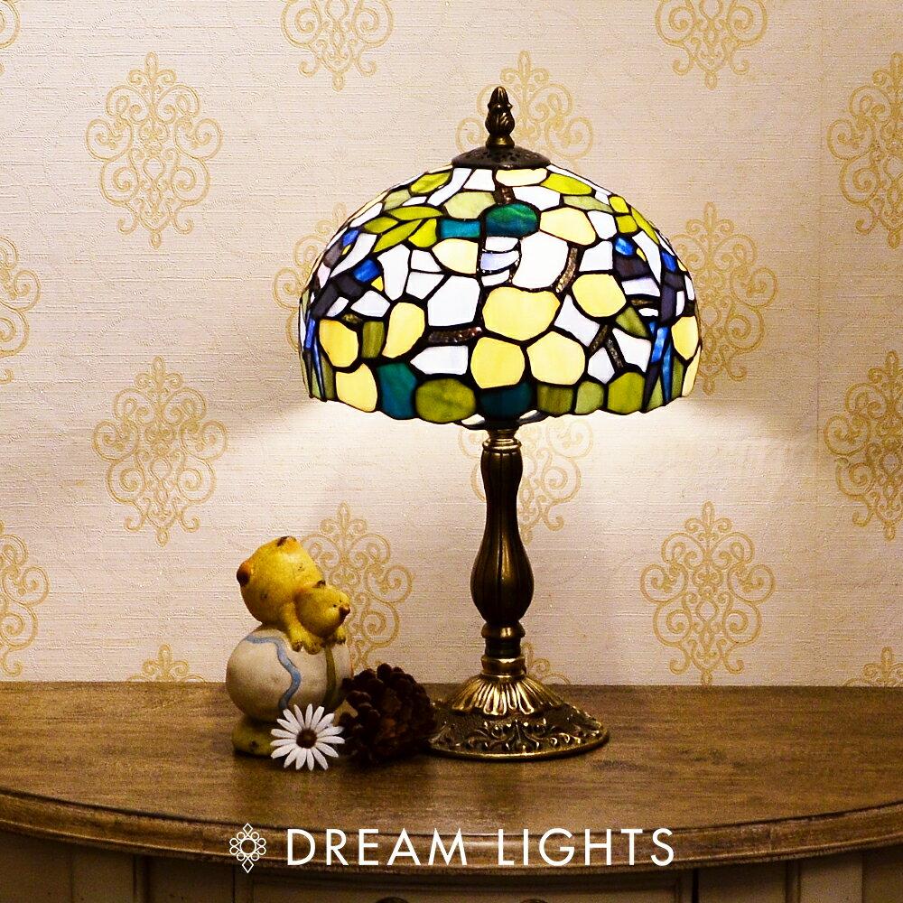 8''藍色情侶鳥銅座桌燈|Tiffany蒂芬妮手工彩繪玻璃桌燈