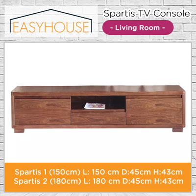 Spartis TV Console | Living Room | Solid Wood with High Laminated Finishing I 3x Oak Drawers