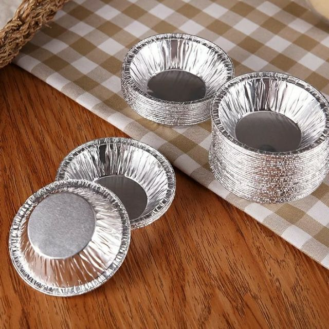 現貨 大/小100入  鋁箔蛋塔模具烘焙模具錫箔鋁箔容器拋棄式豆塔模具烤肉用品K