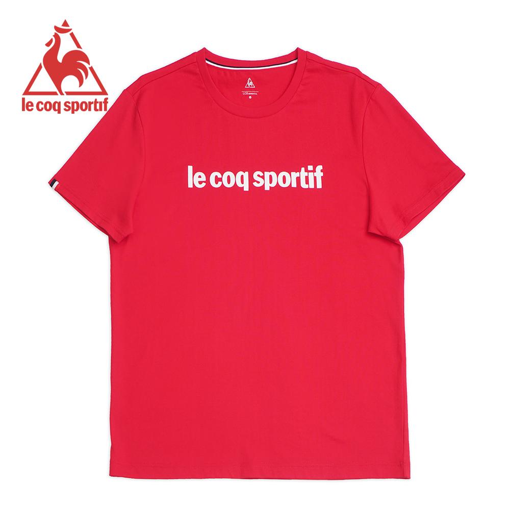 le coq sportif 法國公雞牌素色圓領短袖T恤 男-紅