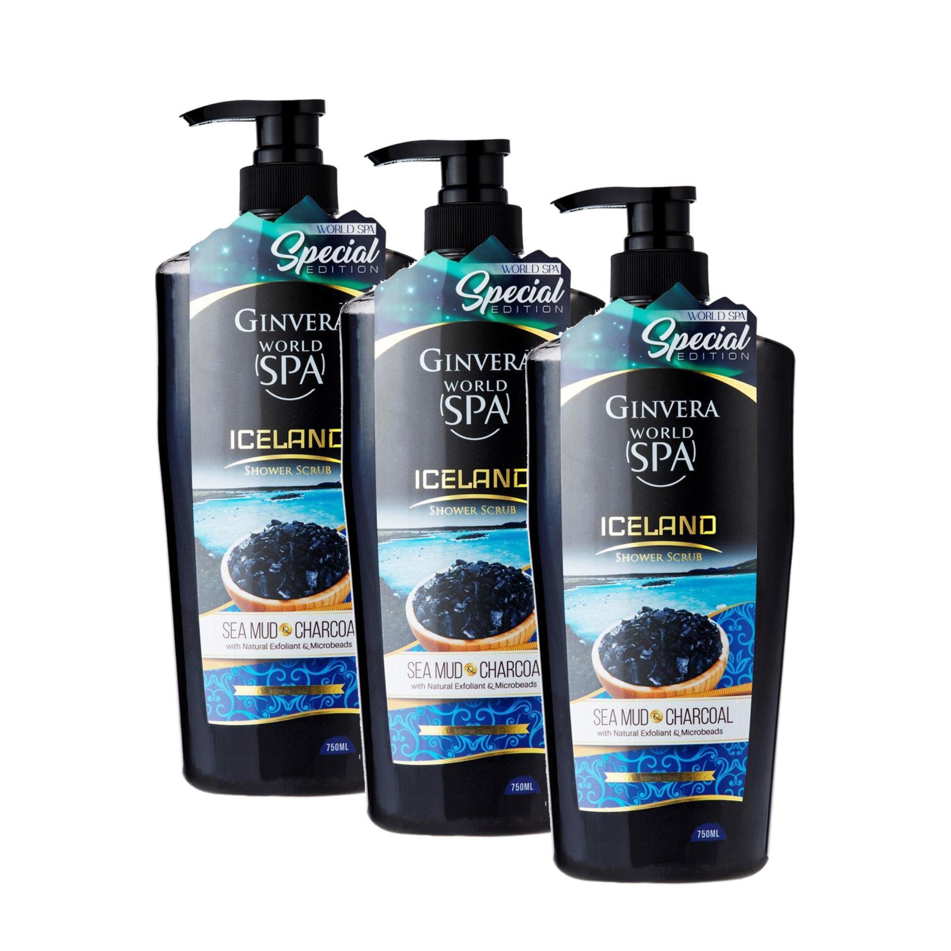 Ginvera World Spa Iceland Sea Mud & Charcoal Shower Scrub 750ml x 3