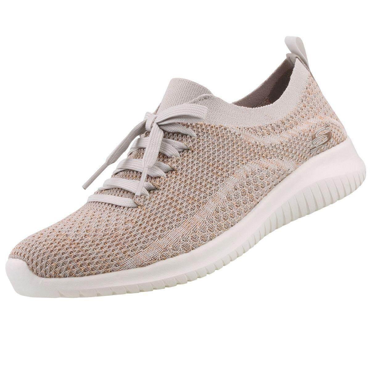 SKECHERS WOMEN รองเท้าผ้าใบ ผู้หญิง รุ่น ULTRA FLEX - 12843TPGD (TAUPE/GOLD)