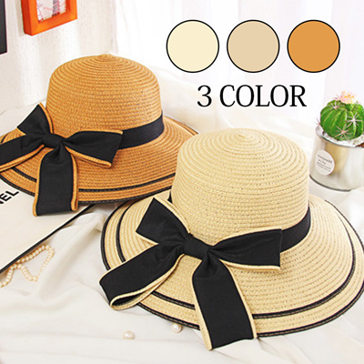 【Free Shipping】 Color scheme Ribbon Straw Hat ■ Women's Straw Hat Cankan Hat Wheat Wara Hat Miscellaneous Goods Collar Wide UV Protection Fashionable Sunbat Measures Hat uv Cut Hat Ribbon Resort S