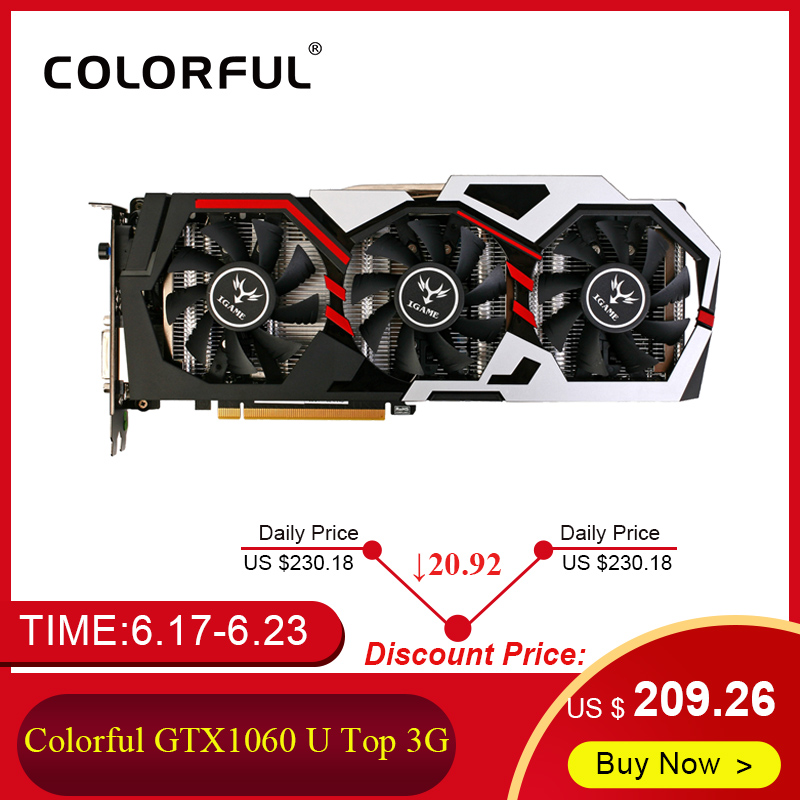 Colorful iGame GTX1060 U Top 3G Video Graphics Card Nvidia Boost 1708MHz 192Bit GDDR5 PCI-E 3.0 GTX 1060 Gaming Card