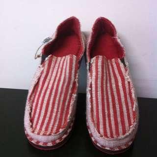 SoleRebels全新 手工鞋 懶人鞋 便鞋(紅色條紋)