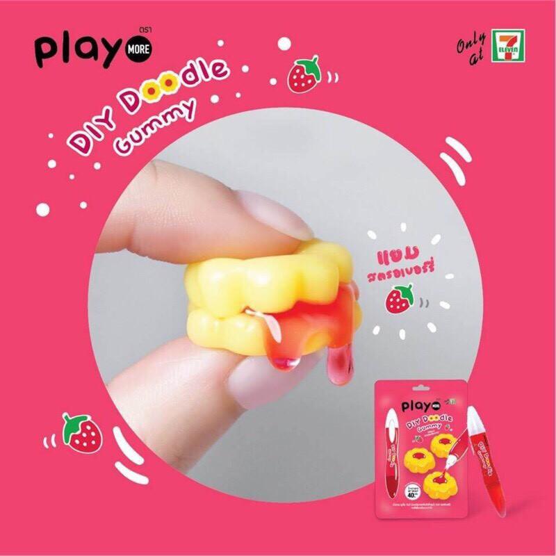 泰國 7-11限定 play more DIY 草莓醬花花軟糖 草莓醬夾心軟糖 花花 40g