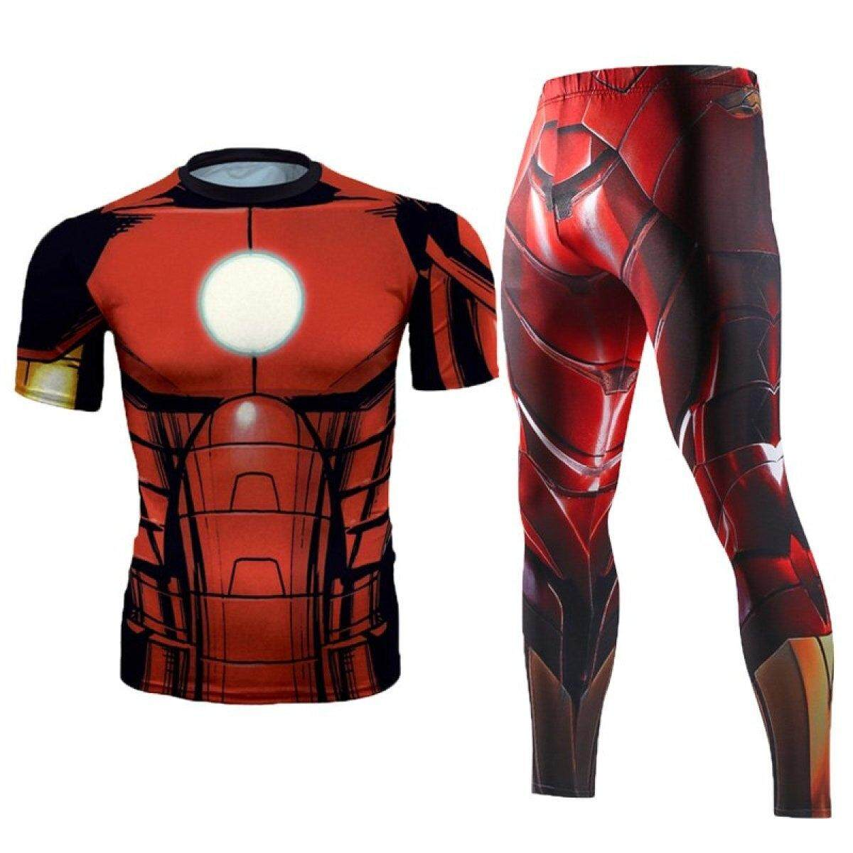 Men Compression Shirt Men 3D Printed Pattern Superman Workout Compression Tights Gym Fitness TShirt Pants Quick Dry Sets(IronRed) - intl