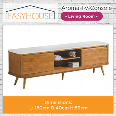 Aroma TV Console | Living Room | Solid Wood with High Laminated Finishing I Marble Table Top