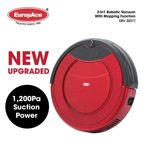 EuropAce 2-IN-1 Robotic Vacuum Cleaner (Mop and Dry) ERV 3031T Auto Cleaning / Auto Daily Scheduled Cleaning  - 15 months Warranty