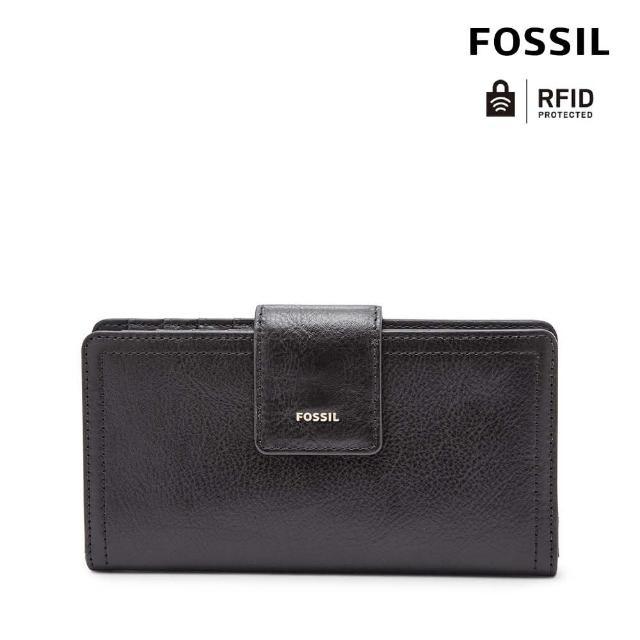 【FOSSIL】LOGAN 黑色真皮拉鍊中長夾SL7830001