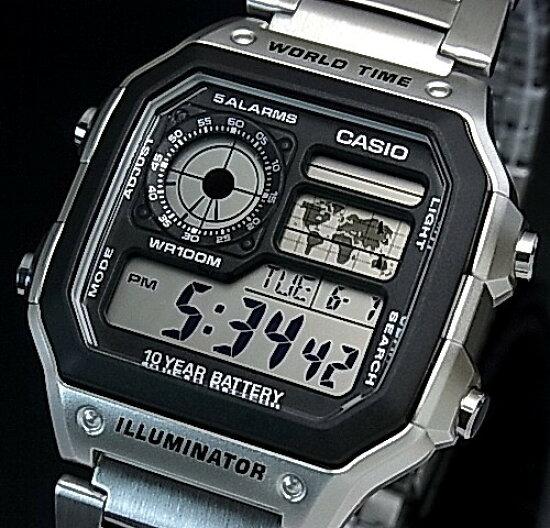 CASIO/Standard數碼世界地圖表示世界時間人手錶金屬皮帶海外型號AE-1200WHD-1A BRIGHT