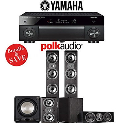 (Polk Audio) Polk Audio TSi 500 5.1-Ch Home Theater Speaker System with Yamaha AVENTAGE RX-A1070B...
