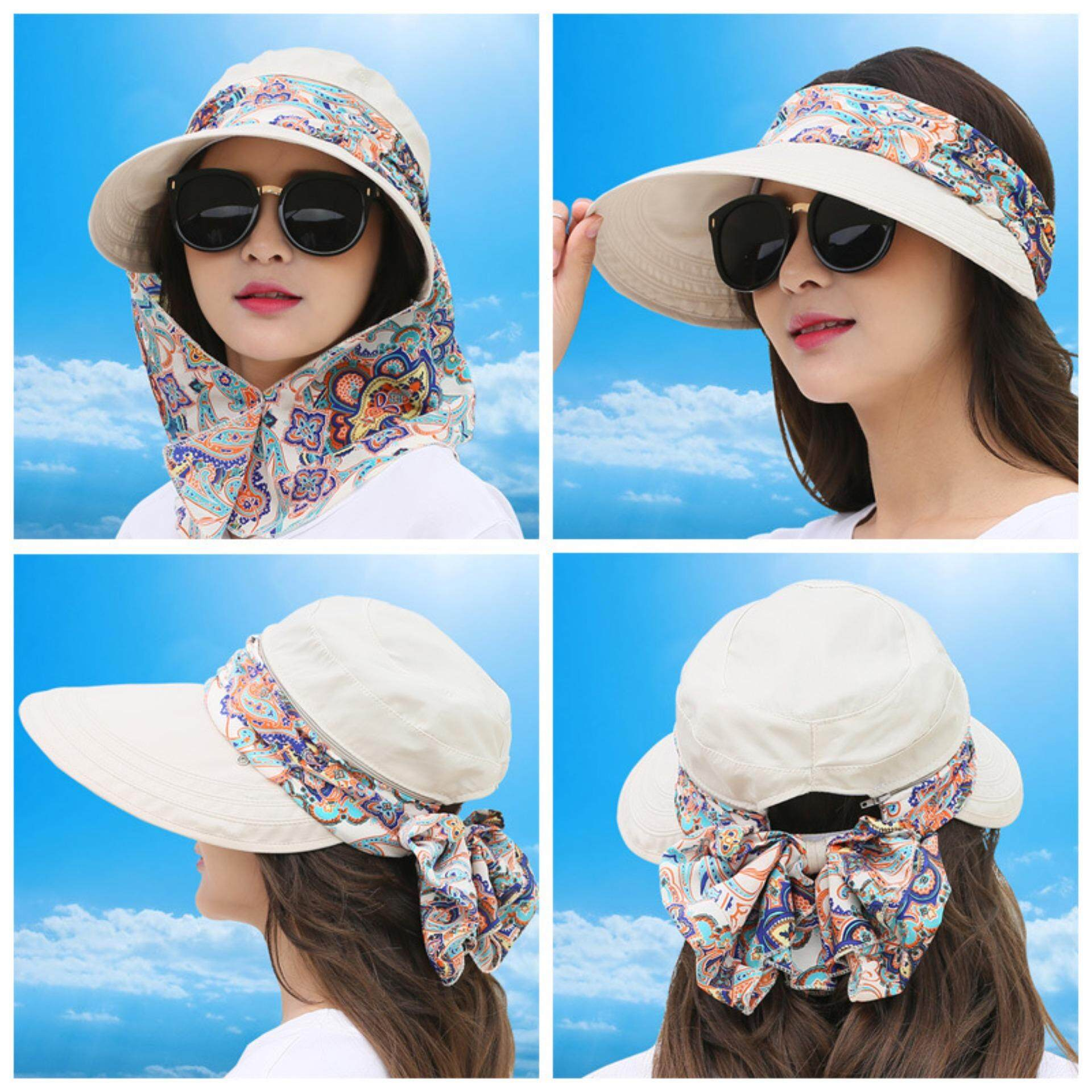 RS summer sun hat, outdoor large covered face, UV protection, sun hat, sun hat, lady hat can be folded(Beige)