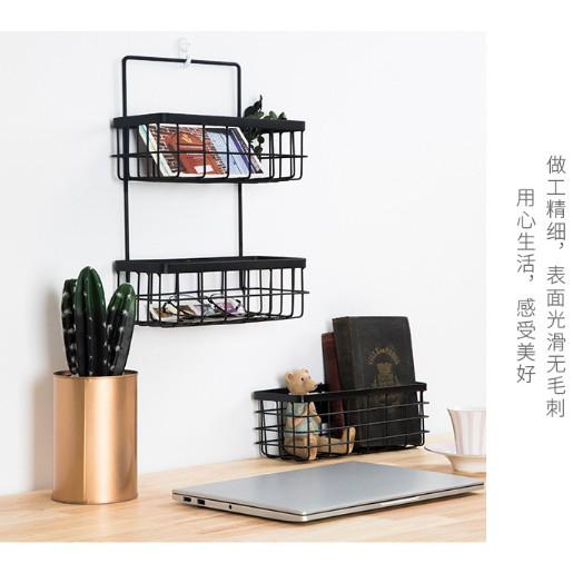 鐵藝雙層收納籃(附配件)  多肉植物浴室廚房懸掛式置物架 白色 黑色 掛籃壁掛儲物籃