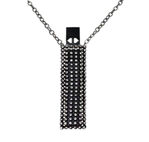 JUUL Necklace Crystal Anti-Loss Premium Sleeve Case Cover (Does Not Include JUUL Device, Pods, Skin, Starter Kit or Charger Accessories) Black