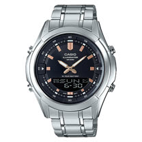 CASIO 卡西歐 雙顯男錶 不鏽鋼錶帶 黑色/銀色錶面 十年電力 防水 AMW-840D-1A