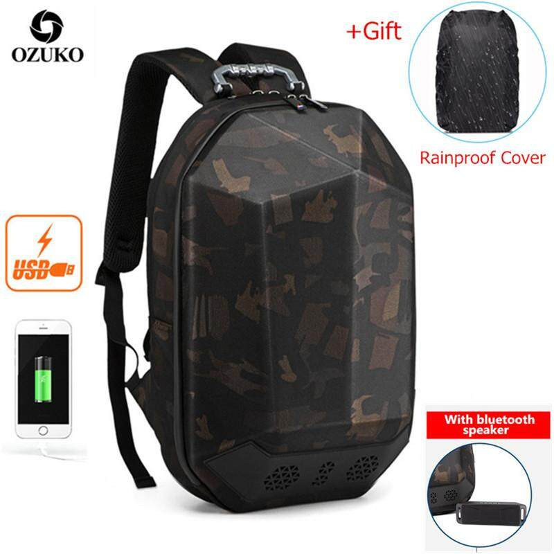 OZUKO USB Waterproof ABS 15.6-Inch Laptop Backpack Multifunctional Business Backpack Casual Travel Backpack Fashion School Bag for Men (With Bluetooth)