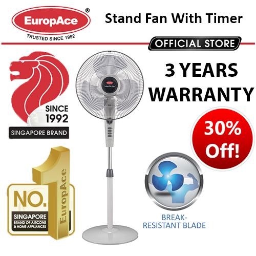 """EuropAce Stand Fan with Timer (16"""") ESF 316Q - 3 Years warranty - Break Resistant ABS Blade"""