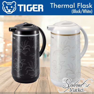 TIGER PRD-N100 Thermal Flask (Black/White) / Made in Japan / Spout Cover