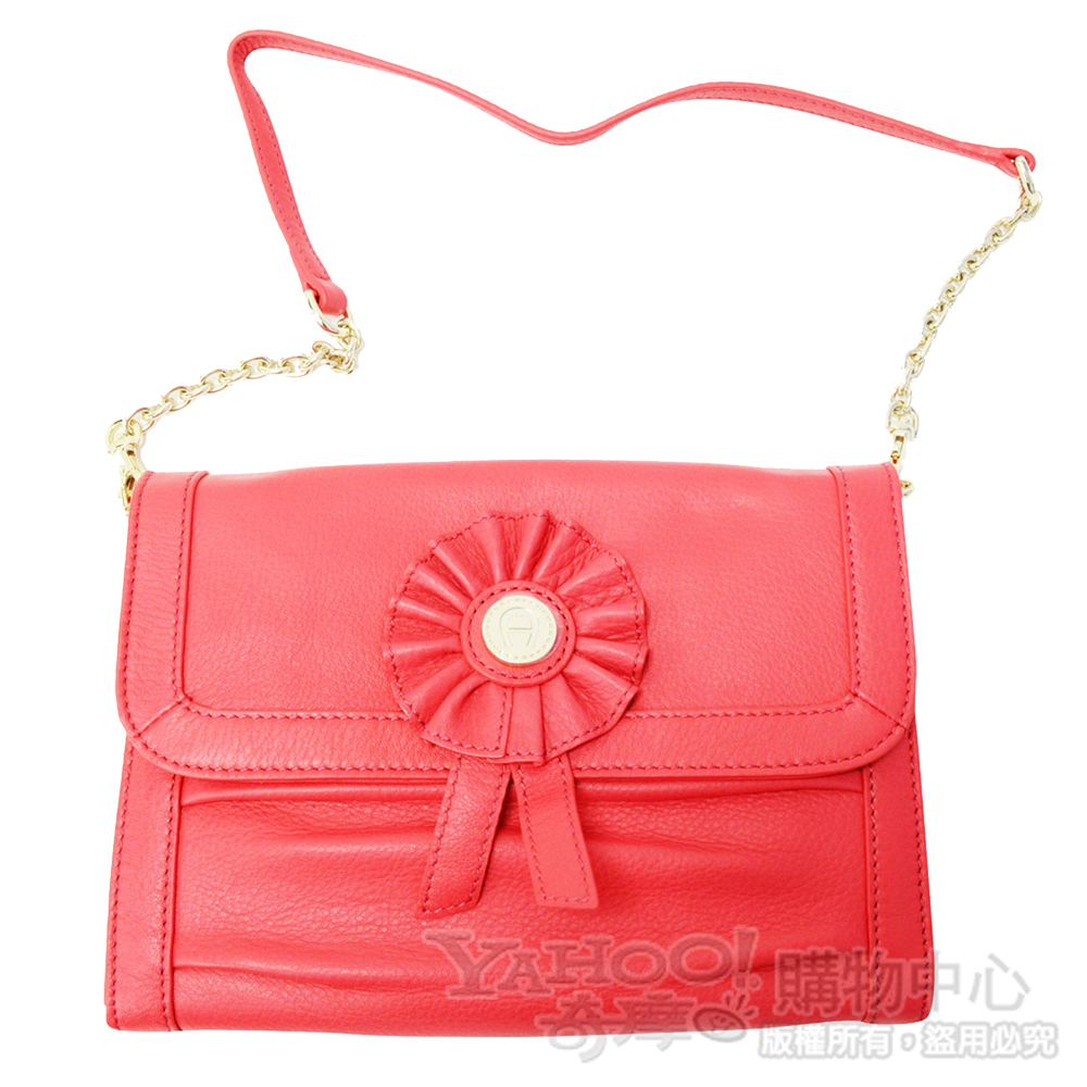 AIGNER-Evening Bag真皮徽章鐵鍊肩背晚宴包(橘)