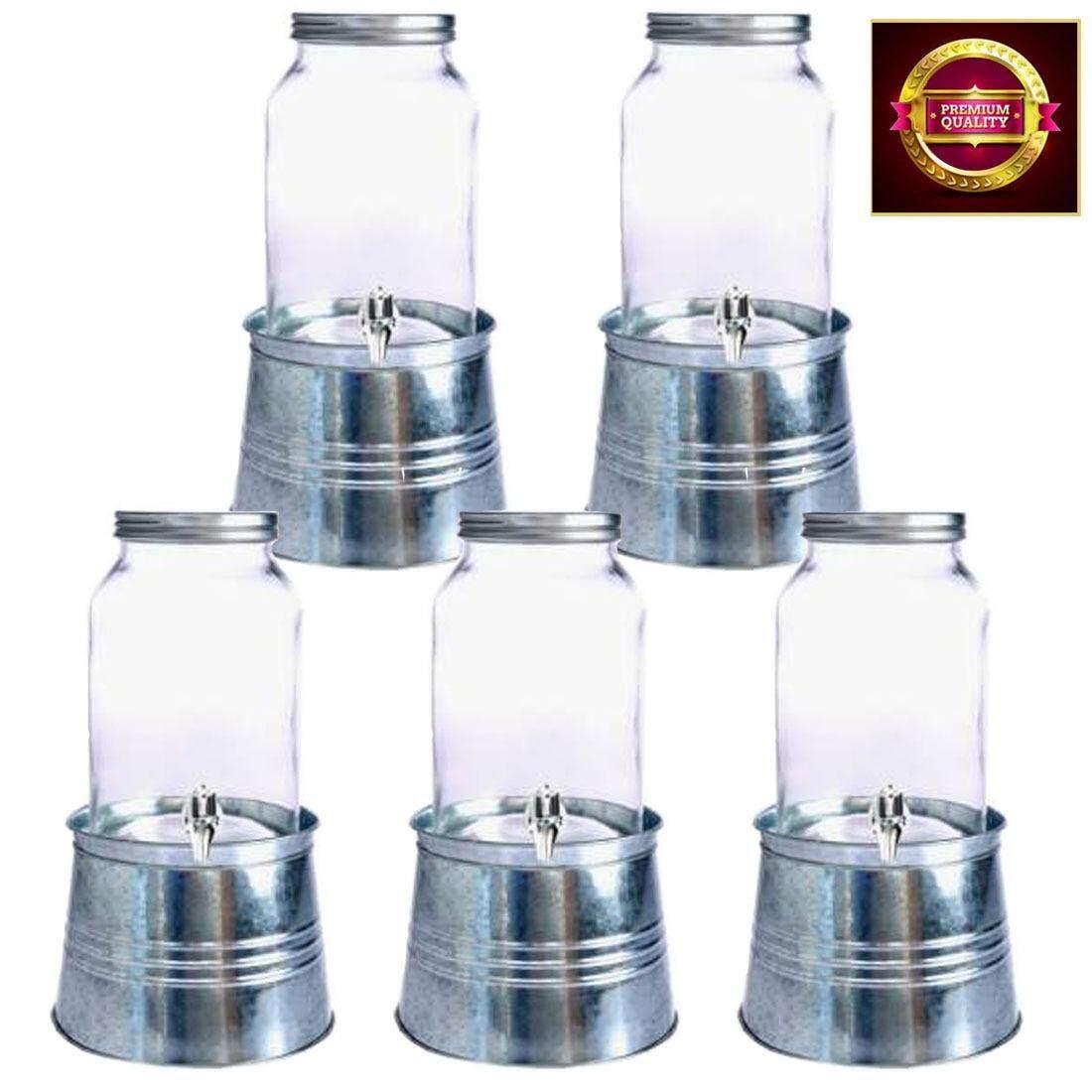 โหลแก้วมีก๊อกพร้อมฐานรองกัลวาไนซ์,โหลแก้วคุณภาพดี ,โหลจ่ายน้ำ,โถจ่ายน้ำ  3.5 ลิตร  จำนวน 5 ชุด