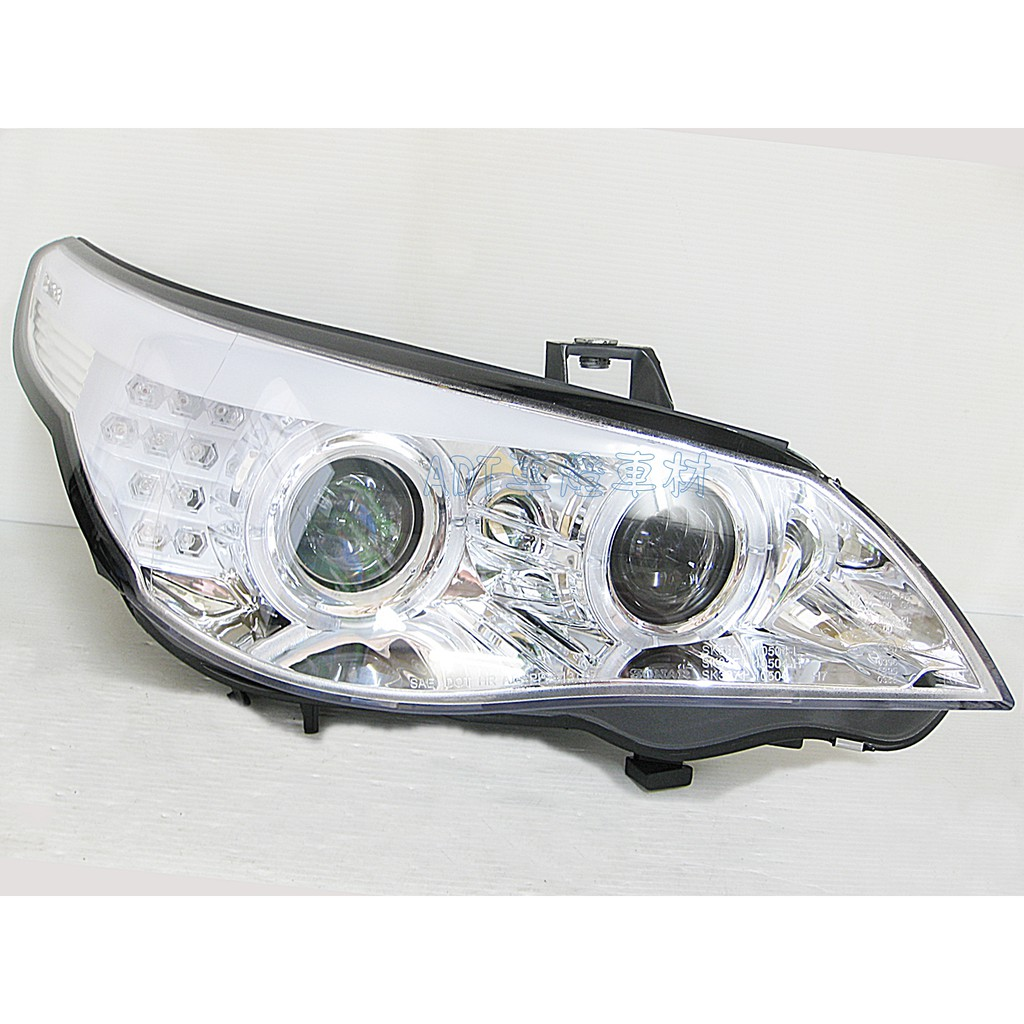 ~~ADT.車燈.車材~~BMW E60 03 04 05 06 改類F10 LED光圈+LED方向燈雙魚眼銀底大燈組