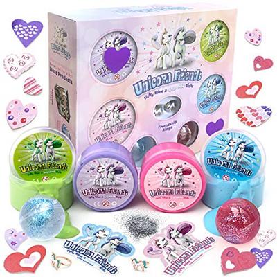 [sb]Valentines Unicorn Slime Kit for Girls Friends - Fluffy Cloud Poop Slime Kit with Glitter Toy Se
