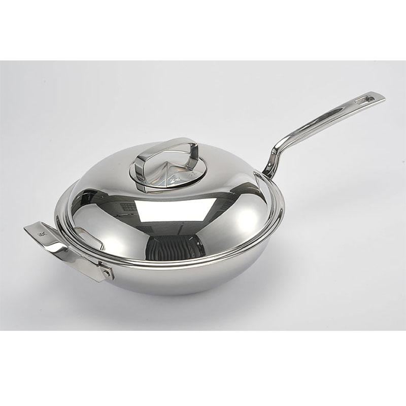 Germany WMF 28/32 Cm Long Handle Single Handle Stainless Steel Chinese Wok Chinese Style Wok Frying Pan with Lid