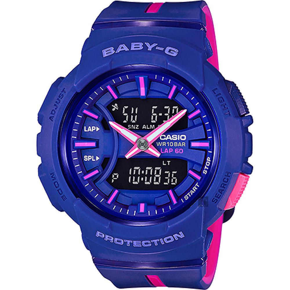 CASIO卡西歐 Baby-G 慢跑亮彩手錶-藍x桃紅