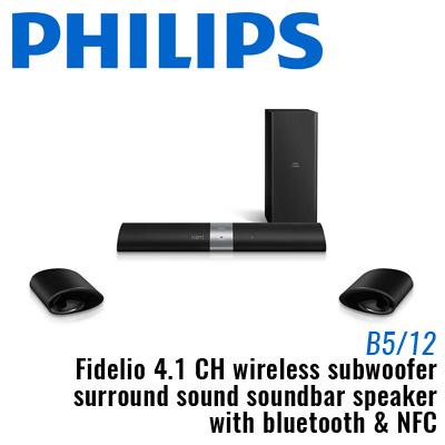 Philips Fidelio 4.1 CH wireless subwoofer surround sound soundbar speaker with Bluetooth and NFC / O