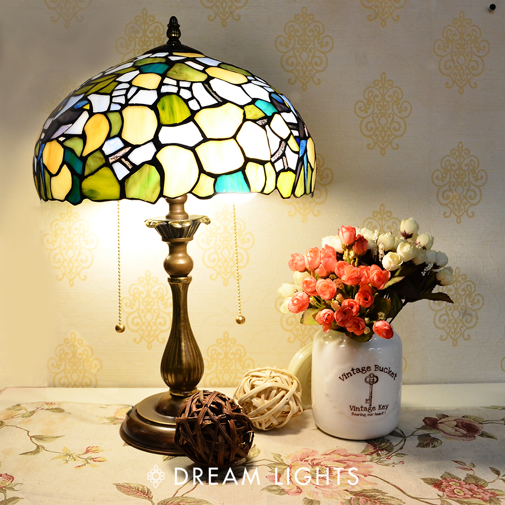 【DREAM LIGHTS】藍色愛情鳥桌燈|Tiffany蒂芬妮手工彩繪玻璃桌燈