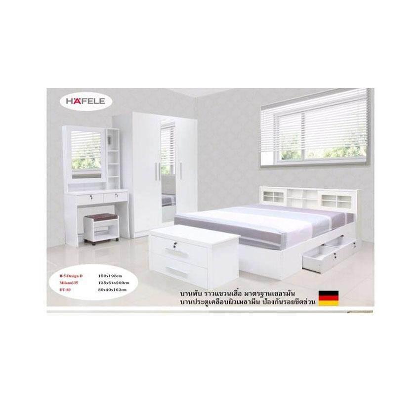 ชุดห้องนอนบานเลือนลิ้นชัก เตียง 6 ฟุต + ตู้เสื้อผ้า 3 บาน + โต๊ะแป้ง 80 cm +ตู้ลิ้นชัก + ที่นอนสปริง ( สี ขาว )