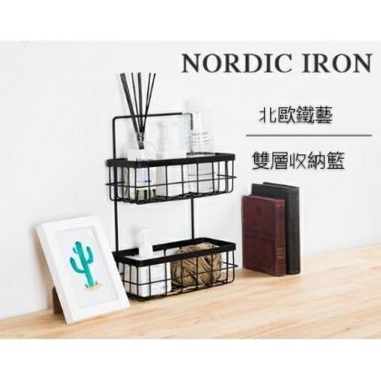 北歐鐵藝雙層收納籃(附配件) 浴室懸掛式置物架 白色 黑色 多肉植物掛籃壁掛收納筐儲物籃7