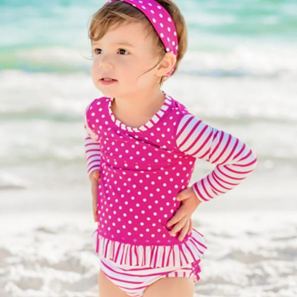 美國 RuffleButts - 小女童長袖比基尼泳裝-桃紫點點