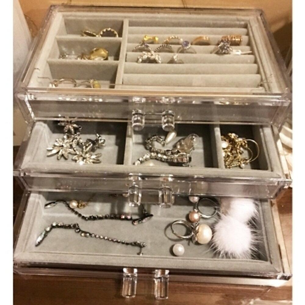 透明壓克力桌面首飾盒手錶收納盒耳環耳釘髮卡耳夾小飾品   聖誕節歡樂購