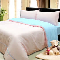 《KOSNEY  粉戀之美》3M吸濕排汗專利+涼感紗四件式加大床包被套組台灣製造