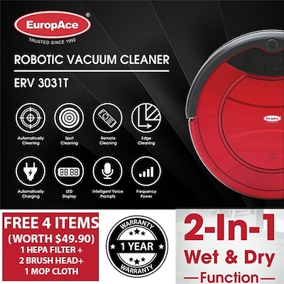 *CNY Promo* EuropAce Robotic Vacuum Cleaner (Wet and Dry) ERV 3031T Auto Cleaning w/ FREE GIFT