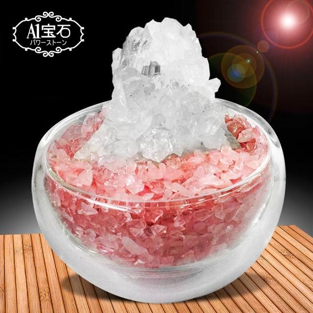 【A1寶石】招財轉運白水晶簇-粉水晶聚寶盆(含開光)