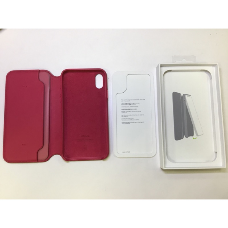 iPhone X Folio 原廠 Leather case 皮革保護殼 - 莓果色