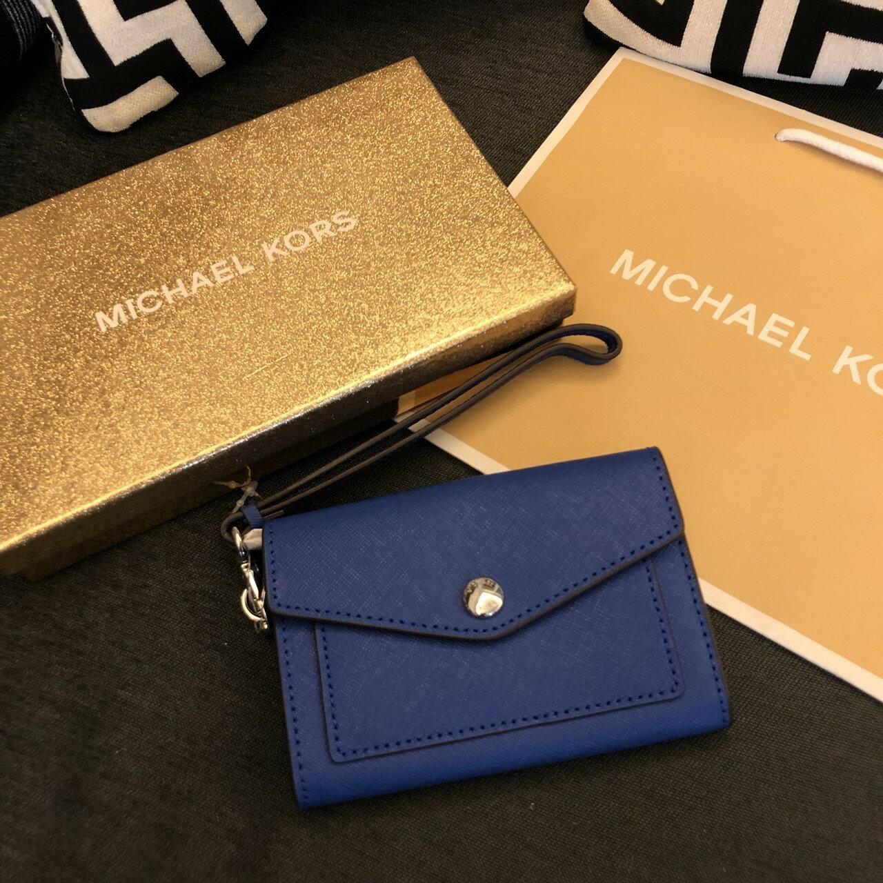 MK 信封手拿皮夾 寶藍色 中長夾 零錢包 卡夾 短夾 名牌皮夾 MICHAEL KOR 現貨 美國直購