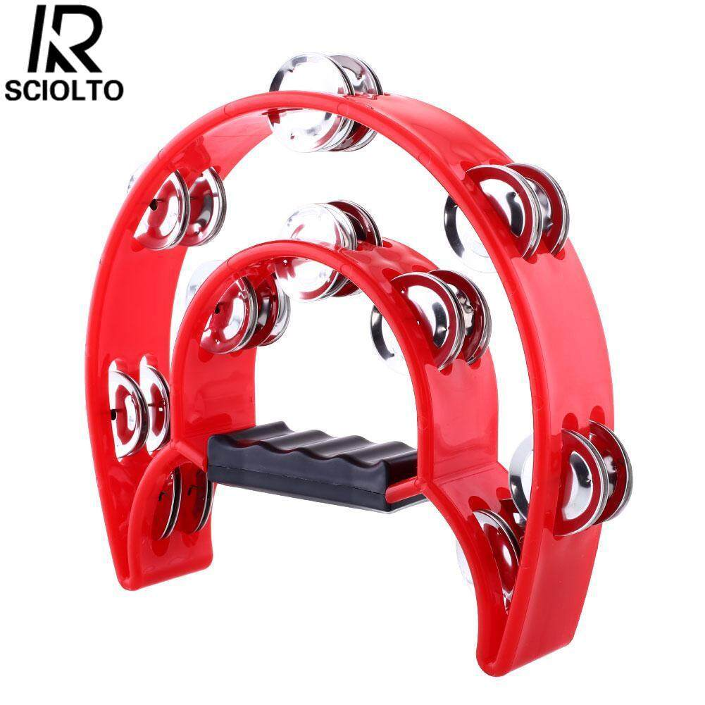 (Free shipping for WM - Klang Valley,WM - Non Klang Valley,EM - Sabah)SCIOLTO SPORTS half moon Tambourine Tamborine Percussion Drum Kit Row Metal Jingles hand grip