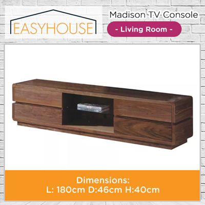 Madison TV Console | Living Room | High Laminated Finishing with Dirty Oak Color