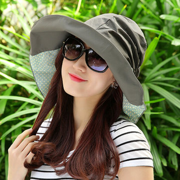 Women Summer Foldable Sun Hat Anti-uv Beach Hats Casual Wide Brim Visor Bucket Hat