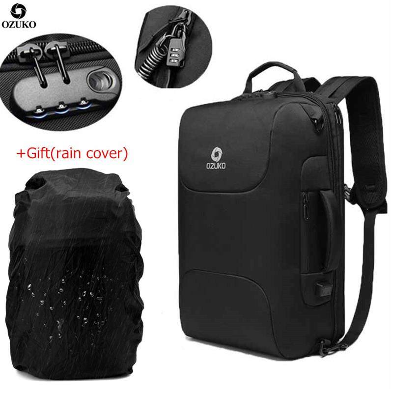 OZUKO USB Multifunctional Business Backpack with Rain Cover Waterproof Oxford 15.6-Inch Laptop Backpack Large Capacity Travel Backpack Fashion School Bag for Men