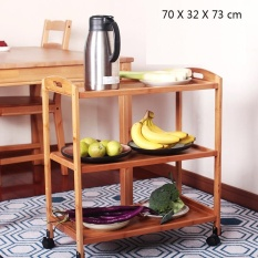 Rolling Bamboo Kitchen storage trolley cart ,Kitchen trolley cart,Space Saving Cart - intl