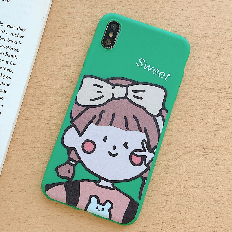 Sweet Girl Case Vivo V5Plus V11i V9 V7 Plus Y85 Y75 Y79 Y71 Green Color Cover
