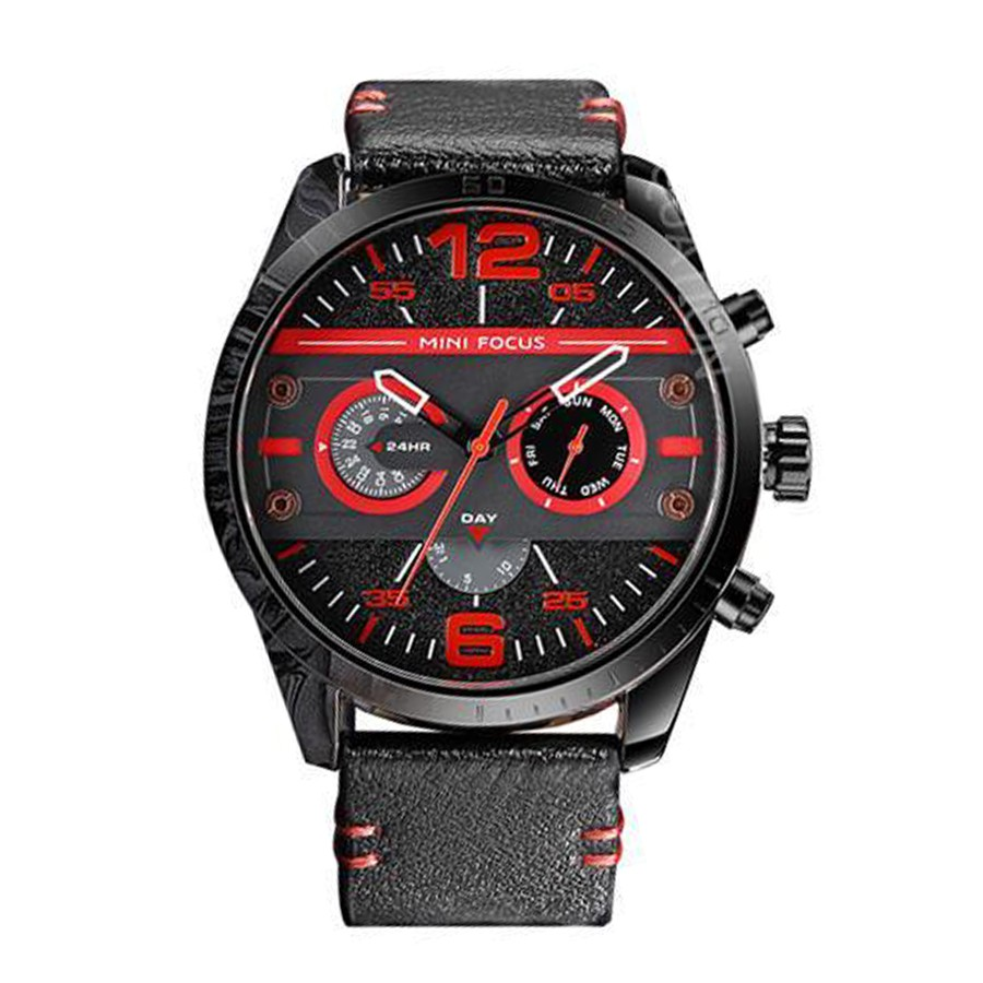 MINI FOCUS 時尚錶 機械男士錶 運動錶 石英錶 防水 真皮手錶 多功能手錶